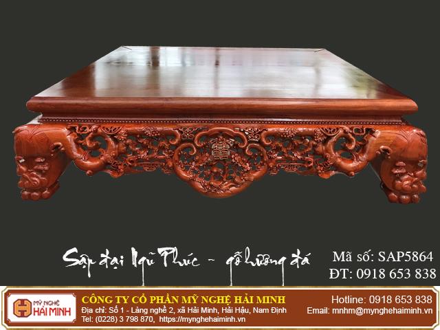 Sập Ngũ Phúc cỡ đại gỗ hương đá - Mã số: SAP5864 - 06