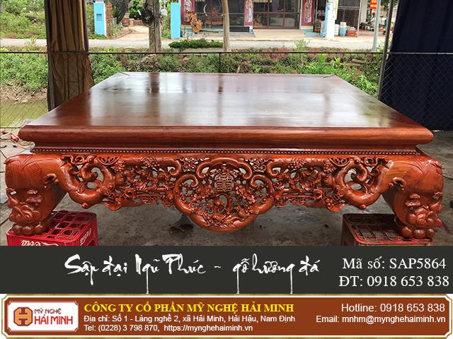 Sập Ngũ Phúc cỡ đại gỗ hương đá - Mã số: SAP5864 - 01