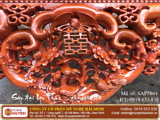 Sập Ngũ Phúc cỡ đại gỗ hương đá - Mã số: SAP5864 - 03