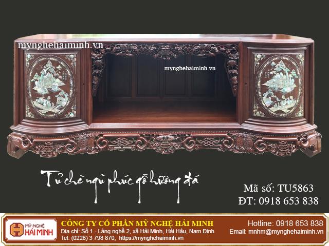 Tủ chè Ngũ Phúc gỗ hương đá màu sẫm - Mã số: TU5863 - 05