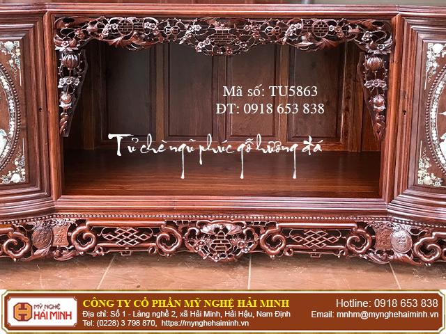 Tủ chè Ngũ Phúc gỗ hương đá màu sẫm - Mã số: TU5863 - 02