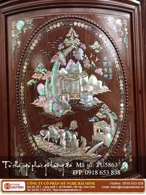 Tủ chè Ngũ Phúc gỗ hương đá màu sẫm - Mã số: TU5863 - 03