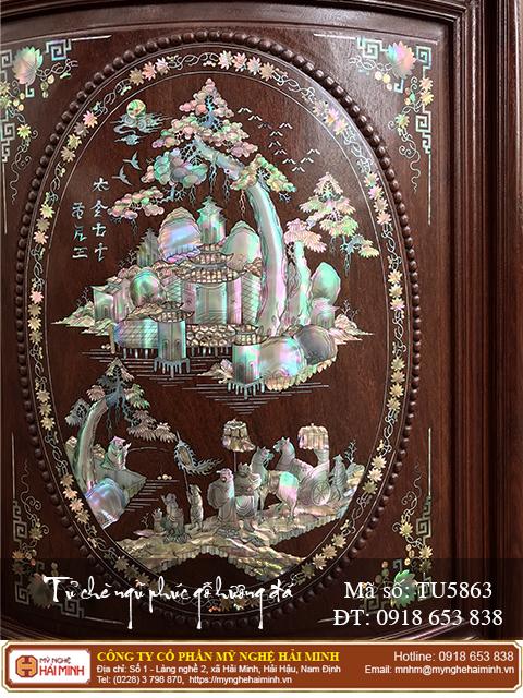 Tủ chè Ngũ Phúc gỗ hương đá màu sẫm - Mã số: TU5863 - 04