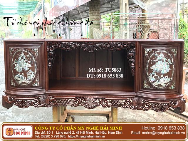 Tủ chè Ngũ Phúc gỗ hương đá màu sẫm - Mã số: TU5863 - 01