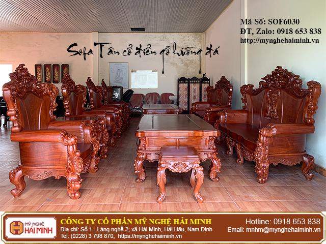 Bộ Sofa Tân cổ điển gỗ hương đá 01
