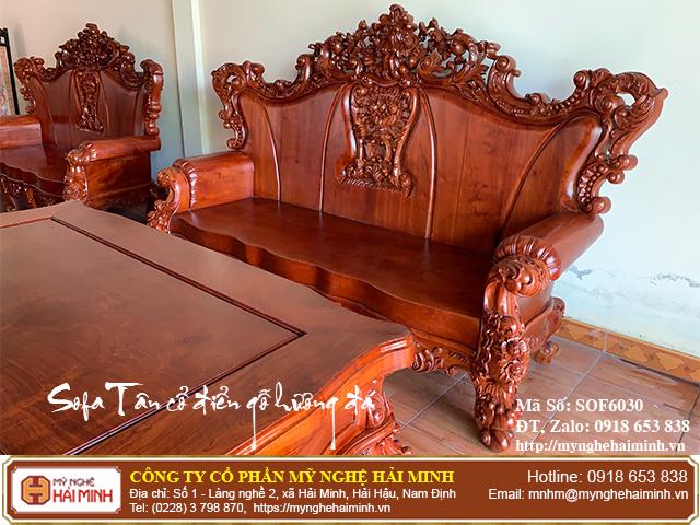 Bộ Sofa Tân cổ điển gỗ hương đá 02