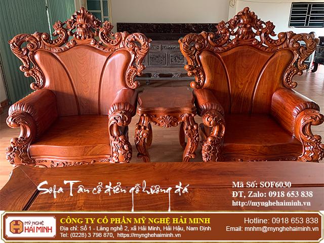 Bộ Sofa Tân cổ điển gỗ hương đá 04