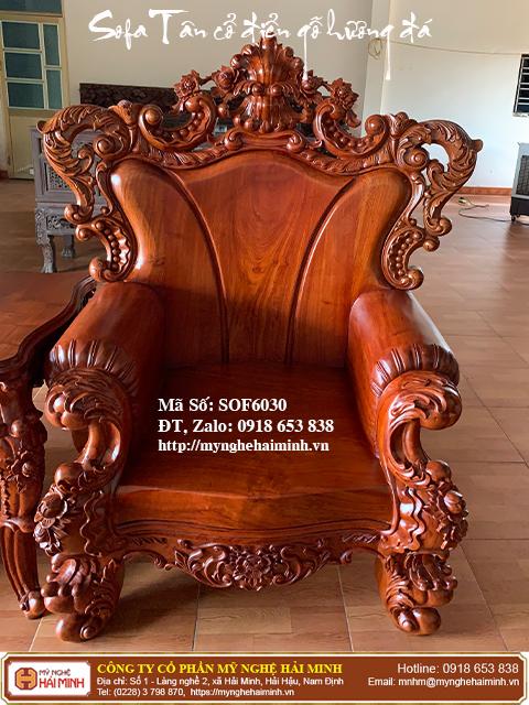 Bộ Sofa Tân cổ điển gỗ hương đá 05