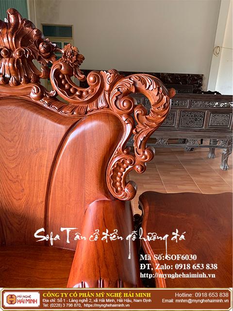 Bộ Sofa Tân cổ điển gỗ hương đá 07