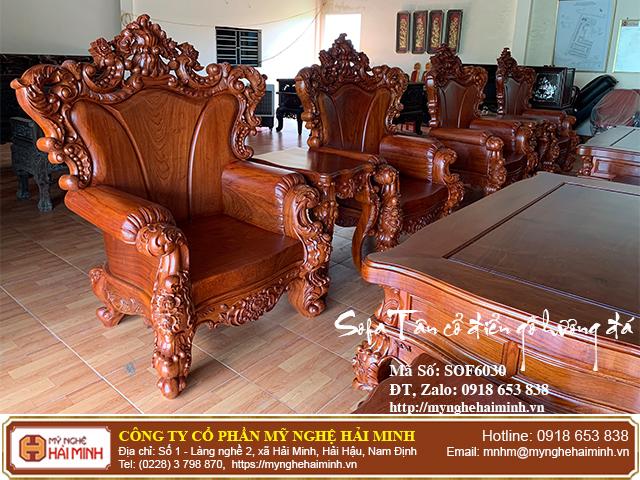 Bộ Sofa Tân cổ điển gỗ hương đá 08