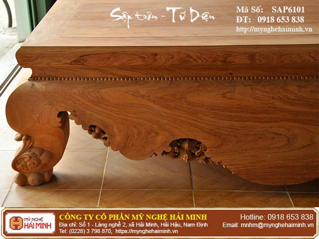 Sập trơn gỗ hương đá quây tứ diện - Mã số: SAP6101 3