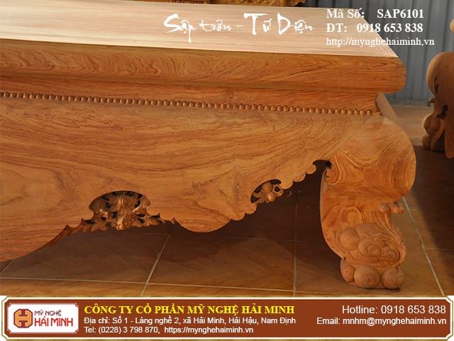 Sập trơn gỗ hương đá quây tứ diện - Mã số: SAP6101