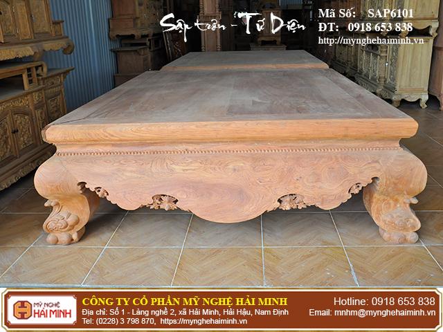 Sập trơn gỗ hương đá quây tứ diện - Mã số: SAP6101 1