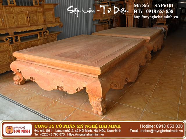Sập trơn gỗ hương đá quây tứ diện - Mã số: SAP6101 6